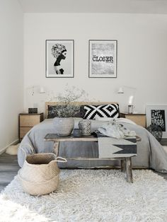 Need to add something to our grey bedroom. Maybe add some black and white, bench and light shag rug.