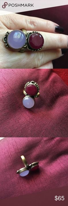 Boho Ruby + Moonstone Silver Ring  Vintage   Newly listed! Gorgeous vintage Boho unfinished ruby gem + moonstone set in plated Sterling silver. Approximately Size 6.5-6.75. Vintage beauty. Make an offer! I am always happy to create a custom bundle for you with the best discounts, so browse around.  Perfect pairing: Purple Free People dress. Vintage Jewelry Rings