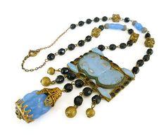 Art Deco Czech Necklace Chalecedony Blue Jet Black Glass Gold Filigree Antique Jewelry by zephyrvintage on Etsy