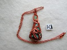Amazonite Crystal Pendant Copper Wrapped Viking Knit Rope Necklace, Wire Earrings, Wire Jewelry, Handmade Jewelry, Unique Jewelry, Necklaces, Wire Wrapped Rings, Wire Wrapped Pendant, Viking Knit