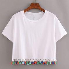 Shop White Contrast Fringe T-Shirt online. SheIn offers White Contrast Fringe T-. Shop White Contrast Fringe T-Shirt online. SheIn offers White Contrast Fringe T-Shirt & more to fit your fashionable Diy Fashion, Ideias Fashion, Fashion Outfits, Fashion Kids, Shirt Designs, Pullover Designs, Fringe Shirt, Diy Clothes, Girl Clothing