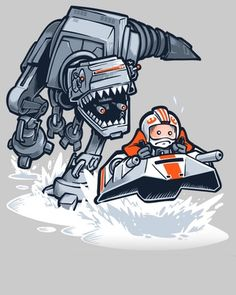 "Artist Nathan Davis created this amusing t-shirt design that was inspired  by Star Wars and Jurassic Park. He calls the it ""Jurassic Hoth,"" and it's  comes at a time where we've seen trailers for both Star Wars: The Force  Awakens and Jurassic World. If you want to purchase a t-shirt with this art  on it, click here. The AT-AT walker reimagined as a T-Rex really makes for  a fun design."