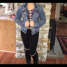 Jean Jacket This is a dark washed jean jacket with a intentional ripped design. Hollister Jackets & Coats Jean Jackets