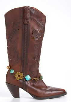 Turquoise and Bronze Beaded Boot Bling  by Blingtimeaccessories, $15.00