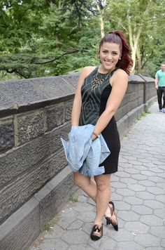 {Simply Audree Kate- CENTRAL PARK GREEN} Kas New York Dress, Levis Jacket, Charlotte Russe Necklace, ASOS Shoes, H&M Bracalet (Sam Kelly Photography) #fashion #style #outfit #ootd #nyc #summer #spring #simplyaudreekate #redhair #centralpark