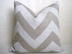Chevron Linen Pillow - Natural - White - 20 inch - BOTH SIDES - Zig Zag - Decorative Pillow - Linen Pillow - Throw Pillow