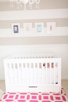 Striped+Accent+Wall+in+this+Neutral+Girly+Nursery