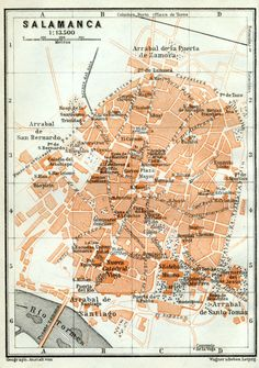 1913. Portugal and Spain, by Karl Baedeker. SCALE:1 : 13,500 PRINTED AREA: 5.75 x 3.75 inches Trinidad, San Bernardo, Where The Heart Is, Vintage World Maps, How To Plan, Curiosity, Prints, Scale, Poster