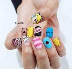 Funky Nails, Dope Nails, Korea Nail Art, Aloha Nails, Sailor Moon Nails, Frozen Nails, Kawaii Nails, Disney Nails, Creative Nails