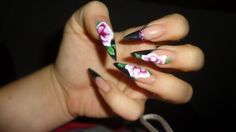 Hardcore Nails with flowers