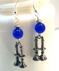 Jewish Earrings Sabbath Candle Blue Judaica Earrings by lindab142, $13.04