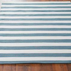 Horizontal Dock Stripe Indoor Outdoor Flat Weave Rug