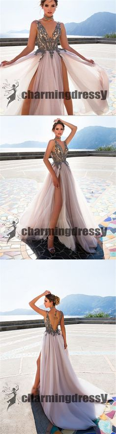 Deep V-Neck Tulle Split Fashion Best Sale Long Prom Dresses, Party Dress Online, PD0368  #charmingdressy#promdresses