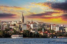 Pôr do sol em Istambul, na Turquia