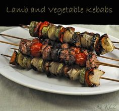 Moroccan Lamb and Vegetable Kebabs, fragrant and slightly spicy, serve over fragrant Basmati Rice or couscous Easy Dinner Recipes, Summer Recipes, Dinner Ideas, Bacon Recipes, Cooking Recipes, Moroccan Vegetables, Turkish Recipes, Ethnic Recipes, Vegetable Skewers
