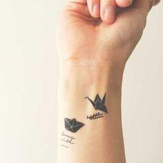 Origami Crane and Love Boat set – INKNARTSHOP - Designer Temporary Tattoo