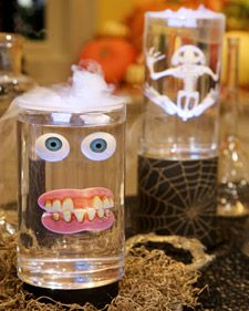 Specimen Jars: I think I would use mason jars instead and find creepier looking items to go inside.