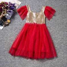 Red Tulle Dress with Gold Bodice