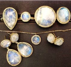 14k Moonstone and diamond jewelry collection