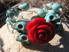Day of the Dead Sugar Skull Bracelet 3 Loops Wrap Around Memory Wire Wedding