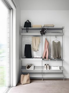 String® System - the Shoe Metal Shelves are available in black, grey or white finish and in two widths and depths. Shoe Shelves, Shelves In Bedroom, Metal Shelves, Bedroom Storage, Modular Shelving, Modular Storage, Shelving Systems, Shelf System, Storage Shelving