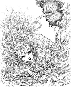 Artist Mitzi Sato-Wiuff Mermaid Myth Mythical Mystical Legend Mermaids Siren  Fantasy Mermaids Ocean Sea Enchantment Sirenas Coloring pages colouring adult detailed advanced printable Kleuren voor volwassenen coloriage pour adulte anti-stress kleurplaat voor volwassenen http://www.aurorawings.com/coloring-book-1.html