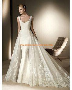 2013 Elegante Luxuriöse Brautmode aus Spitze und Satin mit Schleppe