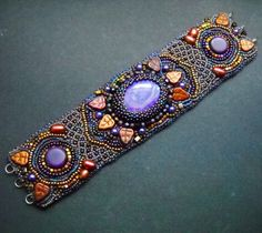 Spicy India - Bead Embroidered Bracelet Cuff with Purple Sugilite and Mexican…