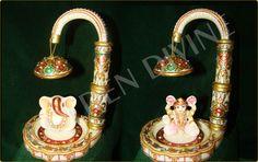 marble handicrafts Ganesha statues with Laxmi Mata