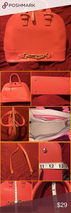 """JustFab Coral """"Gramercy"""" Handbag Coral """"Gramercy"""" handbag from JustFab. NWOT! Bag is faux leather and is beautiful. Inside is nice & clean. It's never been used. However, on two parts of the bag the threading frayed a little on arrival. This is VERY MINOR and is barely noticeable (see pic) I just want to be honest about my items. Bag also comes with an adjustable strap to make it a shoulder or maybe even a cross body. JustFab Bags"""