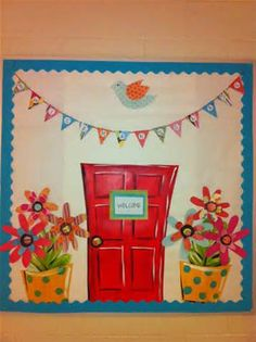 A bright and cheerful welcome bulletin board. The banner could have the name of the classroom on it or the names of the teachers. Display Boards For School, School Displays, Classroom Displays, Classroom Organization, Classroom Decor, Flower Bulletin Boards, College Bulletin Boards, Bulletin Board Design, Teacher Treats