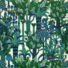 Discover wallpaper ideas on HOUSE - design, food and travel by House & Garden - including this blue and green wallpaper, 'Jardin d'Osier' at Hermès Green Wallpaper, Fabric Wallpaper, Wall Wallpaper, Amazing Wallpaper, Scenic Wallpaper, Wallpaper Maker, Motif Art Deco, Art Deco Pattern, Textile Patterns