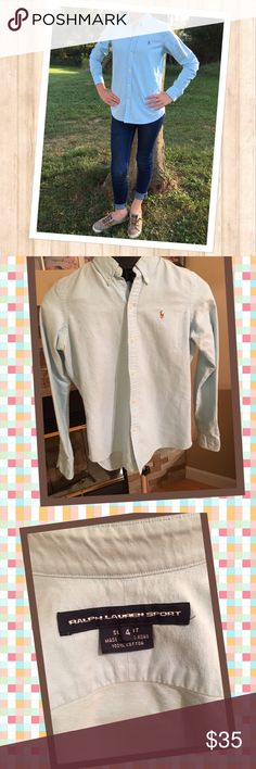 Women's Ralph Lauren Oxford Shirt Practically new blue Oxford button down Ralph Lauren Shirt size 4.  Worn once.  Extremely cute on.  Comes from a smoke free home.  Make an offer. Ralph Lauren Tops Button Down Shirts
