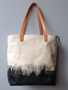 Hand Painted Canvas Tote Bag with Leather Hooves                                                                                                                                                      More