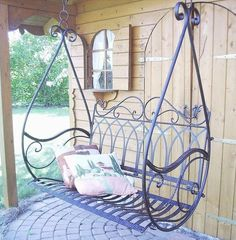 Swing Hanging Bench Porch Gondola Armchair from Metal Avis 1868 Garden Swing Hanging Bench Porch Gondola Seat Chair from Metal Avis 1868 Garden 4029945185210 Metal Patio Furniture, Iron Furniture, Furniture Ideas, Furniture Chairs, Garden Seating, Patio Seating, Garden Chairs, Wrought Iron Decor, Wooden Swings