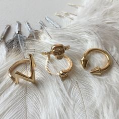 Double Spike Ring, Adjustable Ring, Gold Spike Arrow Ring, Cubic Zirconia Ring  Mixin' n' matchin'