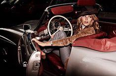 Valentina Zelyaeva in a Mercedes 190 SL by David Burton - PintoPin Mercedes 190, Convertible, David Burton, Burton Burton, Valentina Zelyaeva, Cabriolet, Car Girls, Material Girls, Travel Style