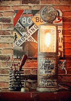Upcycled Industrial Steam Punk Distressed Glass Ceramic Gas Pump Repurposed Lamp #TopItIff #Industrial