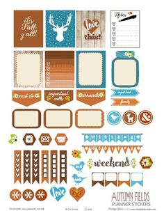 Free Printable Autumn Fields Planner Stickers from Vintage Glam Studio Tick list To Do Planner, Free Planner, Happy Planner, Pages D'agenda, Wash Tape, Washi, Planer Organisation, Weekly Planner Printable, Bullet Journal