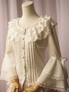 White Chiffon Lolita Blouse Long Hime Sleeves Lace Trim Round Ruffles Collar - Lolitashow.com