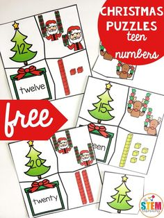 Tackle tricky teens with a batch of festive holiday puzzles! Teen numbers can be tricky for kids, but this set of Christmas themed puzzles makes working with numbers 11-20 fun! Students will match the number, the word form, the number in base ten blocks, and the number of ornaments (held by a reindeer, of course). It makes a perfect December math center for kindergarten or first grade! #christmasactivities #numberpuzzles #teennumbers