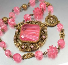 Vintage Czech Pink Glass Pendant Art Deco Necklace