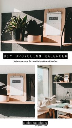 Kostenloser Download: Kalendereinlagen und Anleitung für Upcycling Kalender aus einem alten Schneidebrett und einem Hefter. Diy Kalender, Free Printables, Lettering, Home Decor, Stapler, Wooden Platters, Binder, Simple Diy, Repurpose