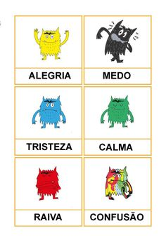 Cartões de três partes O Monstro das Cores Emotions Preschool, Preschool Education, Preschool Art, Book Activities, Toddler Activities, Kids Coping Skills, Feelings Chart, Writing Practice Worksheets, Education Positive