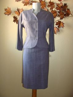 3 PC Mid Century 40-50's Short Sleeve Dress Mid Arm Bolero