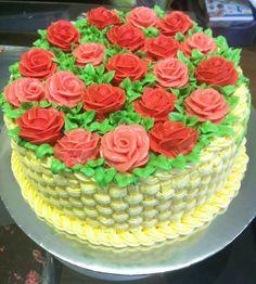 Mango Chiffon Cake - iced and decorated with italian swiss meringue buttercream