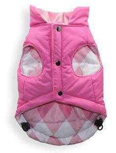 Hip Doggie Medium Reversible Puffer Vest - Pink Argyle, As Shown Dog Vest, Dog Jacket, Baby Vest, Dog Clothes Patterns, Coat Patterns, Shih Tzu, Winter Walk, Large Dog Breeds, Kinds Of Clothes