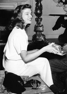 Katharine Hepburn on the set of The Philadelphia Story (1940)