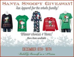 The Peanuts Gang are Celebrating 50 years with Santa Snoopy Apparel for the Whole Family! | Review   A Giveaway