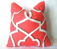 A stylish new coral design to brighten your home! Coral Pillow Cover  18 x 18 One Bittersweet Coral by PillowStyles